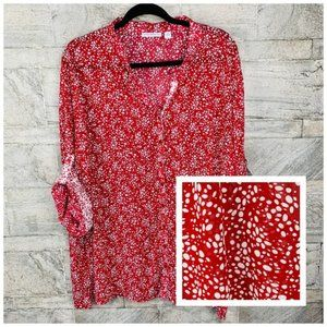 Susan Graver Red / White Polka Dots Chiffon Blouse